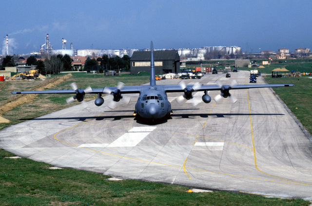 A U.S. Air Force C-130 Hercules taxis down the ramp at Falconar Airport as it prepares to depart for a humanitarian relief flight to Sarajevo. The United States is conducting three flights a day. Each flight totals 35,000 pounds of food, medicine and blankets for the war-torn nation of Bosnia-Herzegovina as part of the operation.PHOTO by STAFF SGT Mike Reinhardt