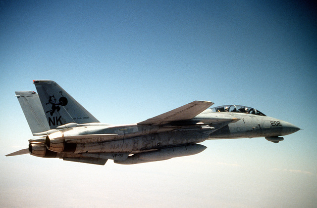 An air to air right side view of a US Navy F-14D Tomcat from Fighter Squadron 31 (VF-31), Naval Air Station Miramar, Calif., as it flies a close air support mission during the annual air defense exercise