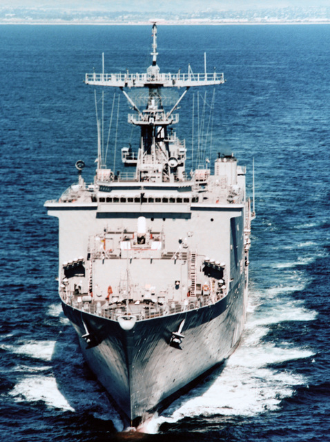 Aerial bow-on view of the dock landing ship USS HARPERS FERRY (LSD-49) underway off the coast of San Diego