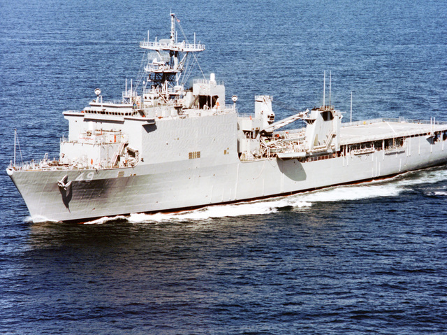 Aerial port bow view of the dock landing ship USS HARPERS FERRY (LSD-49) underway off the coast of San Diego