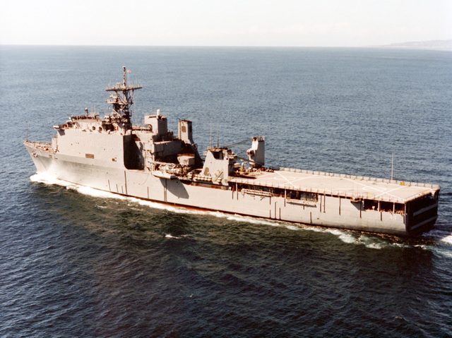 Aerial port side view of the dock landing ship USS HARPERS FERRY (LSD-49) underway off the coast of San Diego