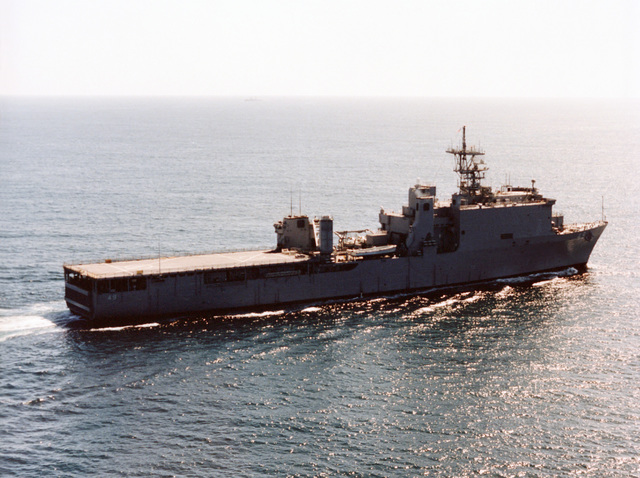 Aerial starboard side view of the dock landing ship USS HARPERS FERRY (LSD-49) underway off the coast of San Diego