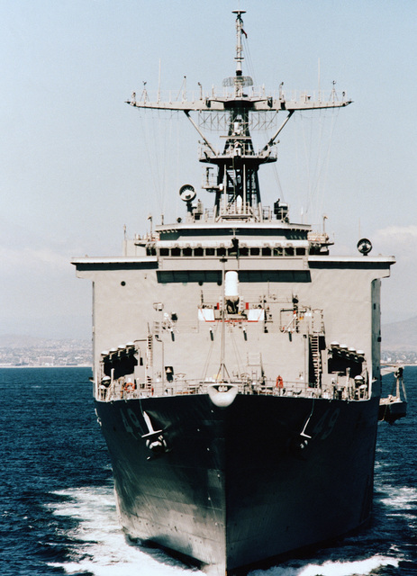 Low oblique bow-on view of the dock landing ship USS HARPERS FERRY (LSD-49) underway off the coast of San Diego
