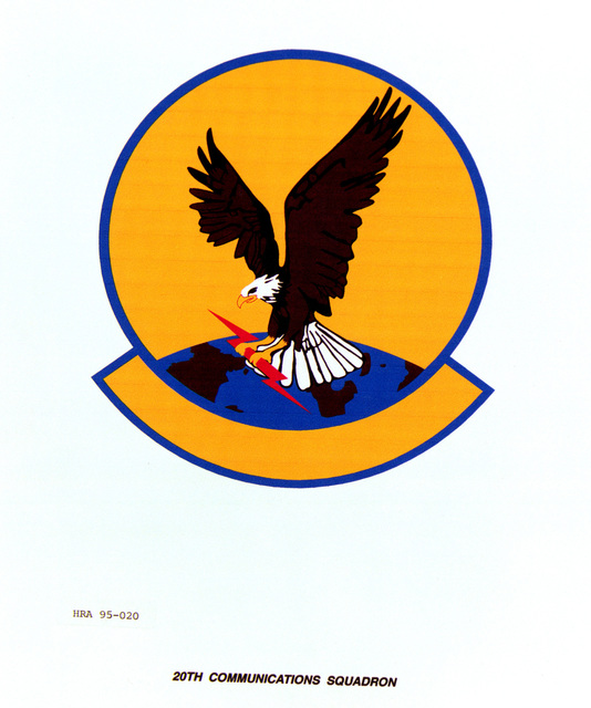 Approved Insignia for the 20th Communications Squadron. Exact Date Shot Unknown