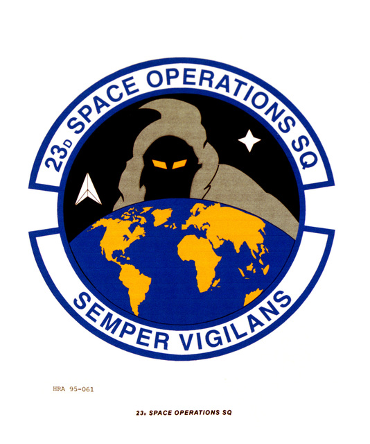 Approved Insignia for the 23rd Space Operations Squadron. Exact Date Shot Unknown