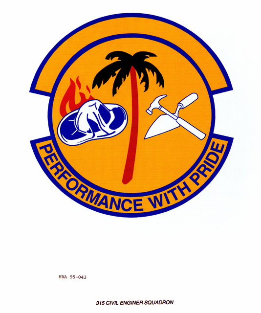 Approved Insignia for the 315th Civil Engineer Squadron. Exact Date Shot Unknown