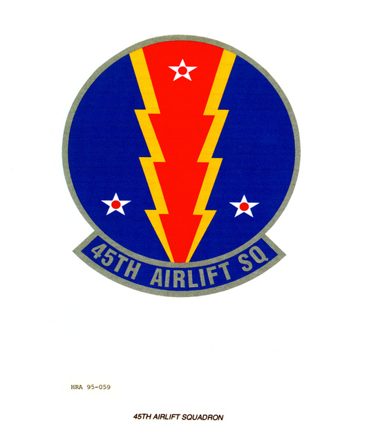 Approved Insignia for the 45th Airlift Squadron. Exact Date Shot Unknown