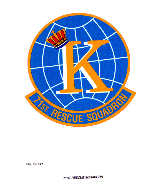Approved Insignia for the 71st Rescue Squadron. Exact Date Shot Unknown