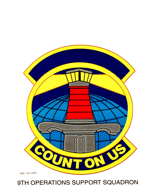 Approved Insignia for the 9th Operations Support Squadron. Exact Date Shot Unknown