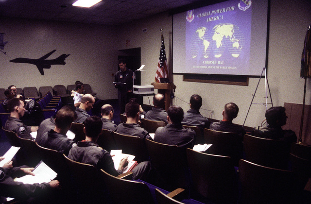 """Flight crews attend a pre-flight briefing at 0001 hours. Three hours later, Two B1-B Lancers will start a non-stop around the world sortie, that will include five in-flight refuelings, and three """"no-drop"""" bombing exercises. When completed this will also determine the (unofficial) world record in this weight category"""