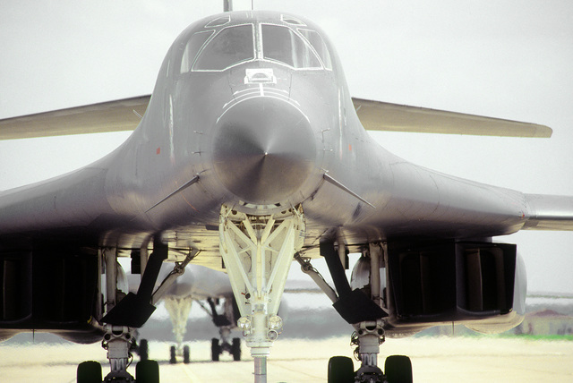 "A close-up, nose-on view of the lead B-1B Lancer bomber named ""Hellion,"" of the 9th Bomb Squadron, Dyess Air Force Base, Texas during exercise CORONET BAT. The around the world mission included five in-flight refuelings, and three ""no-drop"" bombing exercises established the world speed record in this weight category"