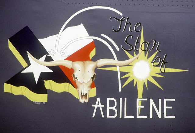 "A close-up of the nose art on ""The Star of Abilene"". It was the first B-1B Lancer bomber to be delivered to Dyess Air Force Base, Texas. This month they celebrate the tenth anniversary of the bomber's arrival"