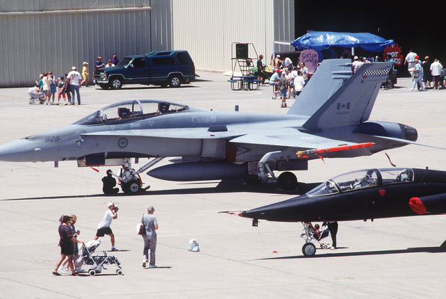 Many aircraft are on display during Guest Day, including fighter jets from the Canadian Air Force