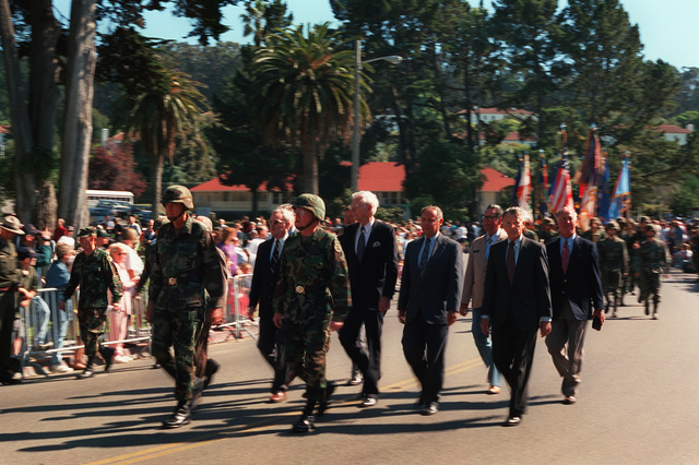 GEN. Dennis Reimer and LT. GEN. Glenn Mallory, Jr., lead past 6th US Army commanding generals out the Lombard Gate of the Presidio of San Francisco for the final time