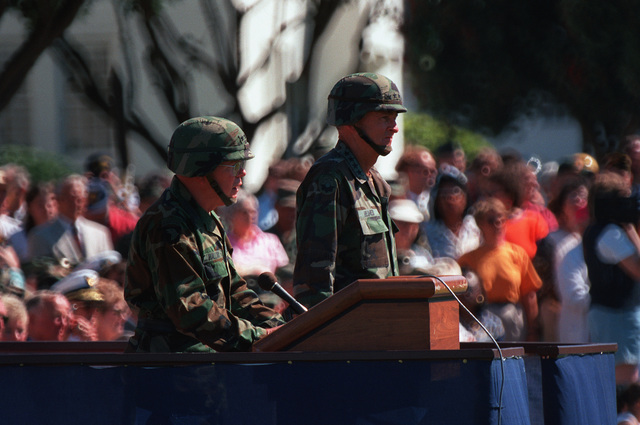 LT. GEN. Glenn C. Mallory, Jr., Commanding General, 6th US Army, gives remarks. GEN. Dennis Reimer, CHIEF of STAFF, US Army is on the right