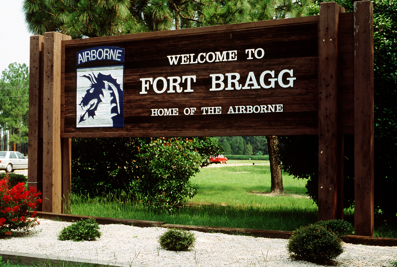 A sign near the front gate of Fort Bragg, N C , home of the 82nd