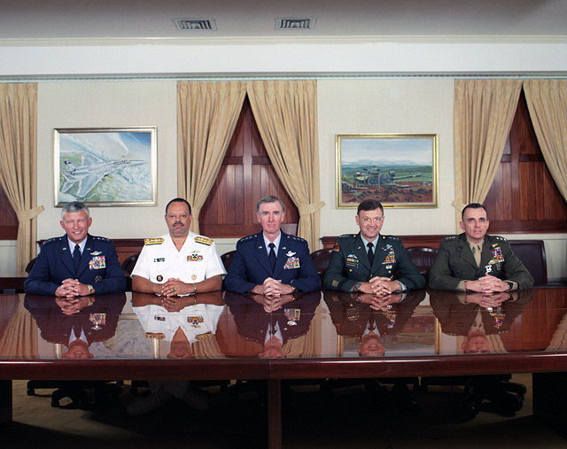 Formal Portrait: Joint Chiefs of STAFF, Operations Deputies Group.  Pictured left-to-right are:  U.S. Air Force LT. GEN. Ralph E. Eberhart, Deputy CHIEF of STAFF for Plans and Operations; U.S. Navy Vice Adm. J. Paul Reason, Deputy CHIEF of Naval Operations for Plans, Policy, and Operations; U.S. Air Force LT. GEN. Walter Kross, Director, Joint STAFF; U.S. Army LT. GEN. Paul E. Blackwell, Deputy CHIEF of STAFF for Operations at Headquarter, Department of the Army; and U.S. Marine Corps LT. GEN. Arthur C. Blades, Deputy CHIEF of STAFF for Plans, Policies, and Operations, Marine Headquarters, July 5, 1995.  OSD Package No. A07D-00345 (DOD PHOTO by Helene C. Stikkel) (Released)