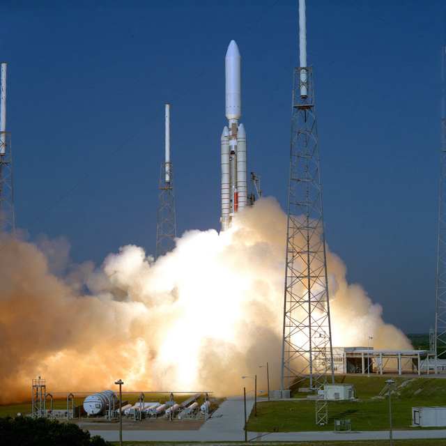 A TITAN IV/CENTAUR is successfully launched from Complex 41 at 8:38 A.M. EDT. This launch marks the second TITAN IV/CENTAUR from Cape Canaveral this year