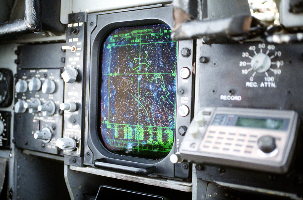 A close-up view of the Suppression of Enemy Air Defenses (SEAD) screen in a Navy EA-6B Prowler aircraft. The screen is used to locate by triangulation, in coordination with intelligence officers, where threats are coming from. The Prowler protects aircraft flying over Bosnia-Herzegovina with either their jamming capability or HARM (High-Speed Anti-Radiation missiles). Exact Date Shot Unknown