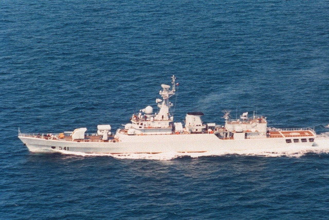 Aerial port beam view of the Chinese Navy Jiangwei class guided missile frigate Huaibei (F-541) underway while enroute to Vladivostok, Russia
