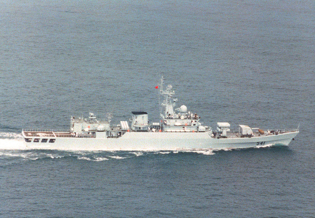 An aerial starboard wide view of the Chinese Navy Jiangwei class guided missile frigate Huaibei (F-541) underway enroute to Vladivostok, Russia