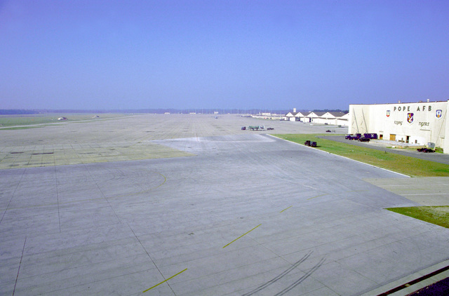 The flight line at Pope Air Force Base is deserted after all of the composite wing's aircraft were deployed in fear of Hurricane Felix which was expected on 23 August 1995. Fortunately the hurricane shifted direction and the aircraft were able to return to the base
