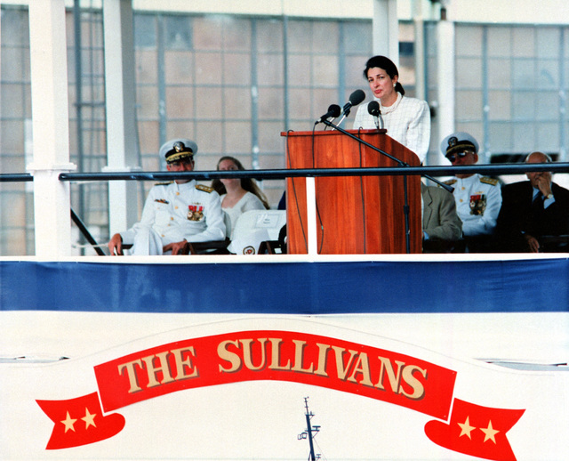 The Honorable Olympia J. Snowe, US Senator, Maine, speaks during the christening and launch ceremony of the guided missile destroyer USS The Sullivans (DDG-68)