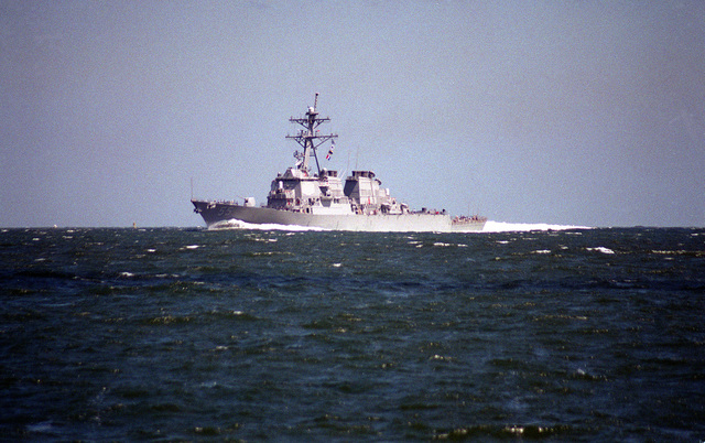 A port bow view of the guided missile destroyer USS STOUT (DDG-55) underway en route to the Norfolk Naval Base. The STOUT, along with other units of the Atlantic Fleet, had put to sea to avoid the effects of Hurricane Felix