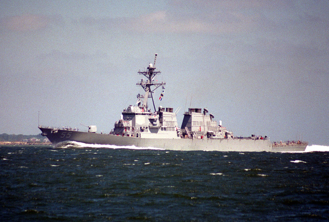 A port side view of the guided missile destroyer USS STOUT (DDG-55) underway. The Stout is returning from sea following the departure of Hurricane Felix from the area