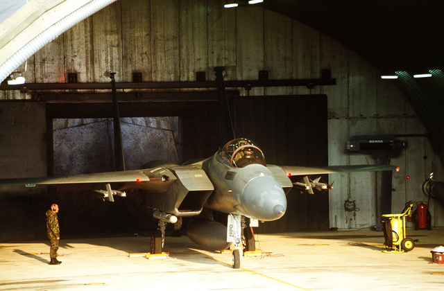 An F-15 Strike Eagle from the 53rd Fighter Squadron, 53rd Fighter Wing, Spangdahlem AB, Germany, is prepared for launch. Exact Date Shot Unknown