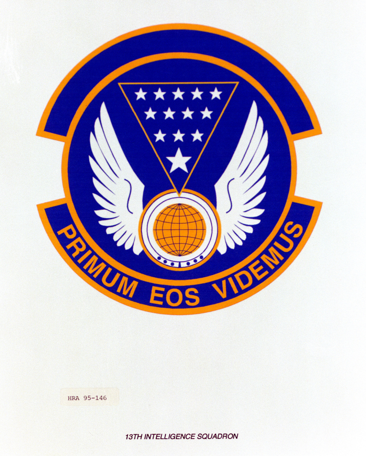 Approved Insignia for the 13th Intelligence Squadron. Exact Date Shot Unknown