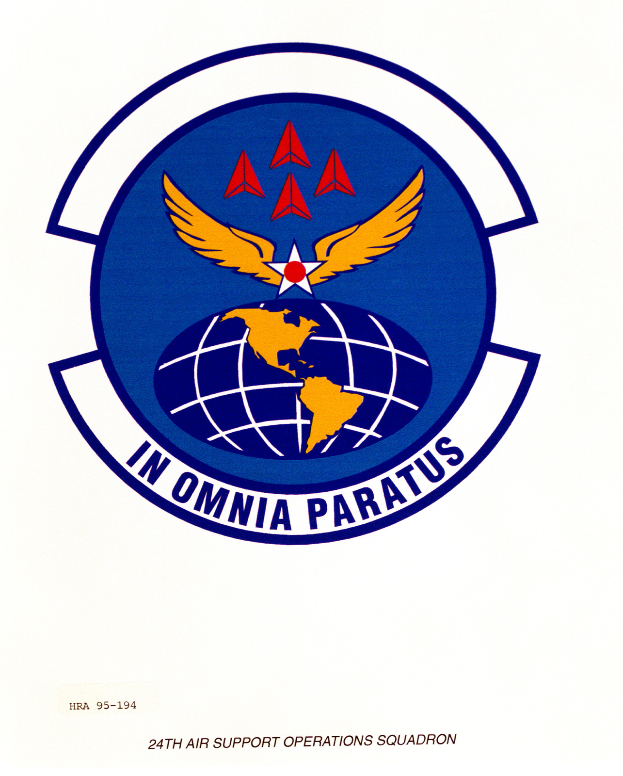 Approved Insignia for the 24th Air Operations Support Squadron. Exact Date Shot Unknown