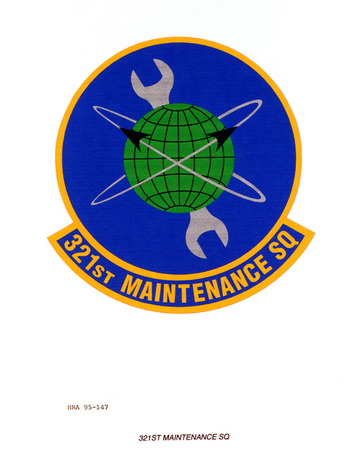 Approved Insignia for the 321st Maintenance Squadron. Exact Date Shot Unknown