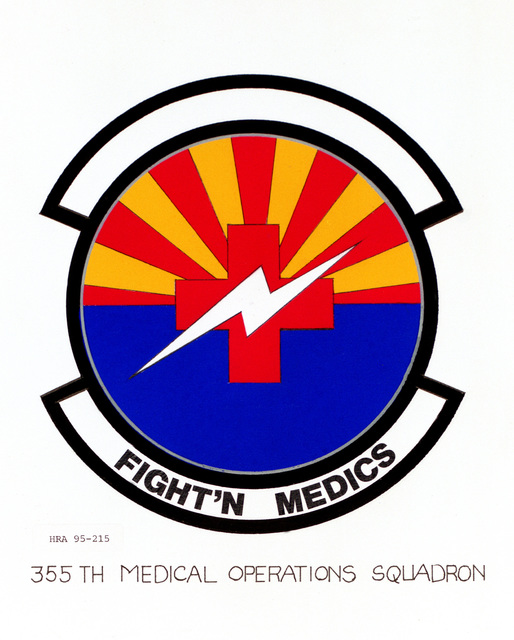 Approved Insignia for the 355th Medical Operations Squadron. Exact Date Shot Unknown