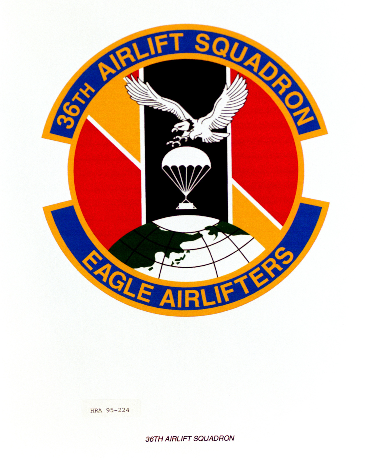 Approved Insignia for the 36th Airlift Squadron. Exact Date Shot Unknown