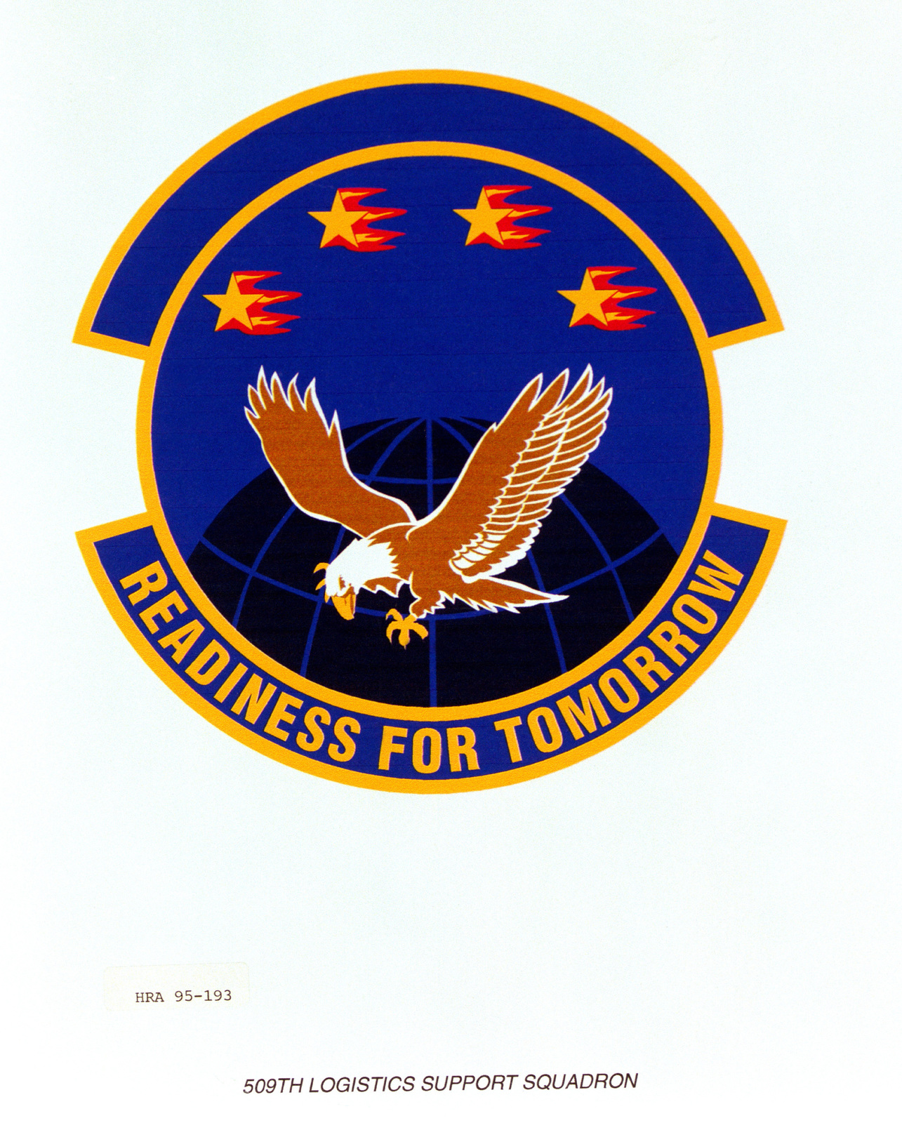 Approved Insignia for the 509th Logistics Support Squadron. Exact Date Shot Unknown