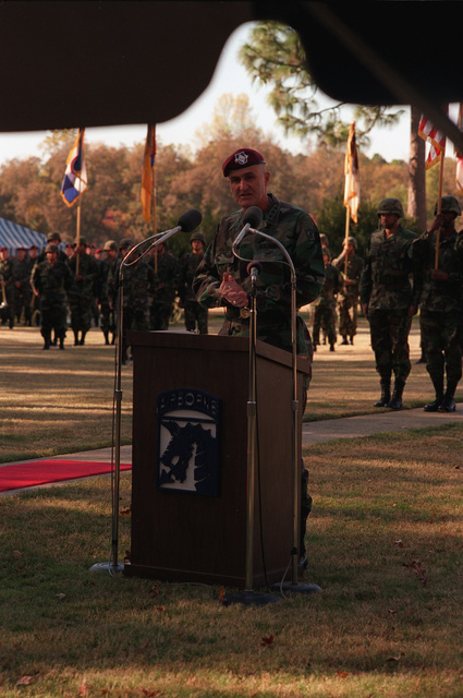LT. GEN. Henry H. Shelton, Commander, XVIII Airborne Corps and Fort Bragg, hosted the retirement ceremony for Command SGT. MAJ. Felix W. Acosta