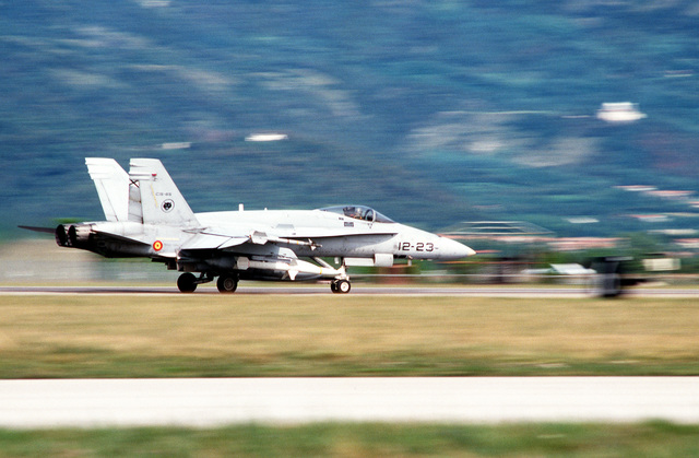 A Spanish Air Force EF-18 aircraft takes off for NATO airstrikes against the Bosnian Serbs