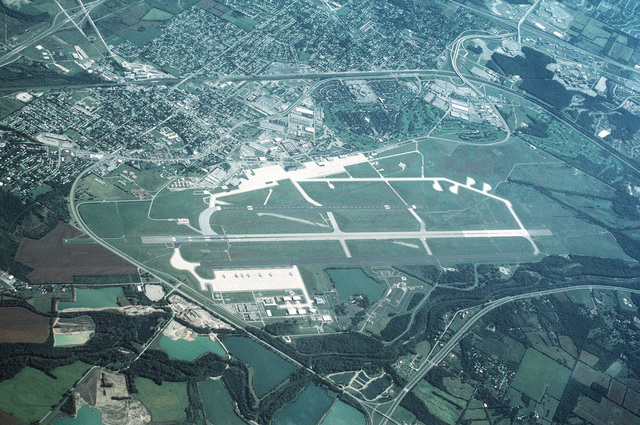 High oblique aerial view looking east. This base is headquarters for the Air Force Material Command (AFMC) and is responsible for all USAF Aerospace development of current and future RDT&E aviation programs