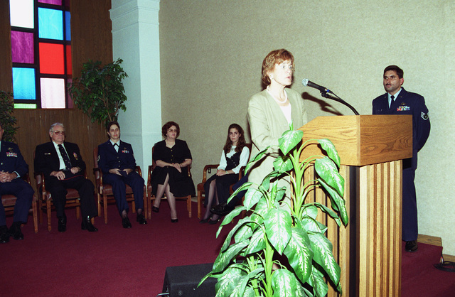 Dr. Sheila Widnall, Secretary of the Air Force, gives a speech at the POW-MIA ceremony at the base chapel