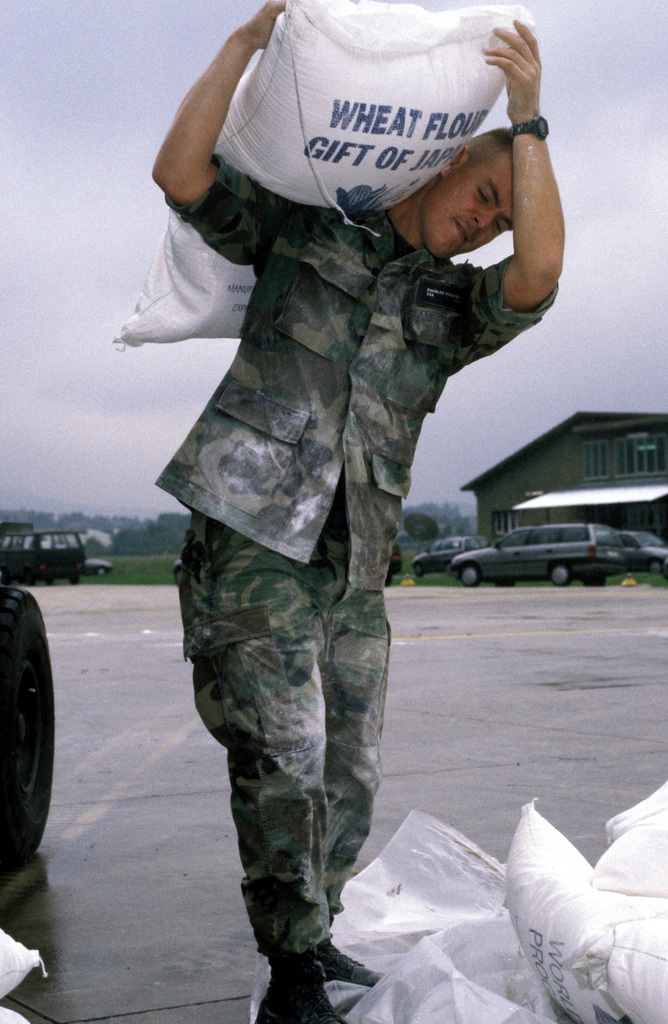 U.S. Air Force SENIOR AIRMAN Woodruff, 37th Airlift Squadron, Ramstein Air Base, Germany, places sacks of wheat flour on a pallet in preparation for loading onto a U.S. Air Force C-130 Hercules which will fly the flour into Sarajevo, Bosnia-Herzegovina on a relief mission. The three-year-old relief effort has been able to resume their mission after a five month hold due to aircraft receiving ground fire over Sarajevo. The C-130 crews fly two missions a day into the Sarajevo airport dropping off approximately 30 metric tons of wheat flour to the besieged residents