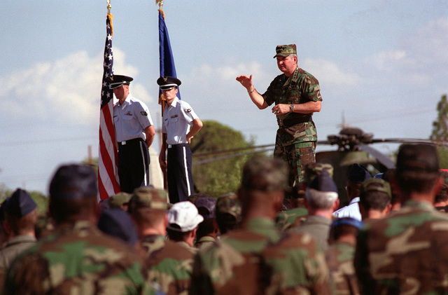GEN. Ronald Fogelman, Air Force CHIEF of STAFF, addresses the 355th Wing during his CHIEF's call