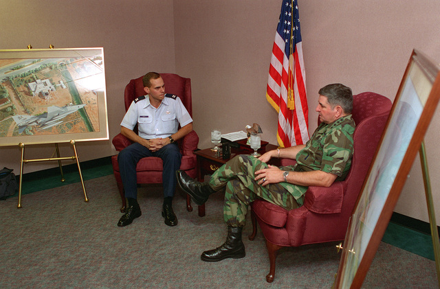 GEN. Ronald Fogelman, Air Force CHIEF of STAFF, is interviewed by CAPT. Andy White, 355th Wing Public Affairs Office, during the General's 21-23 Sep. 95 visit