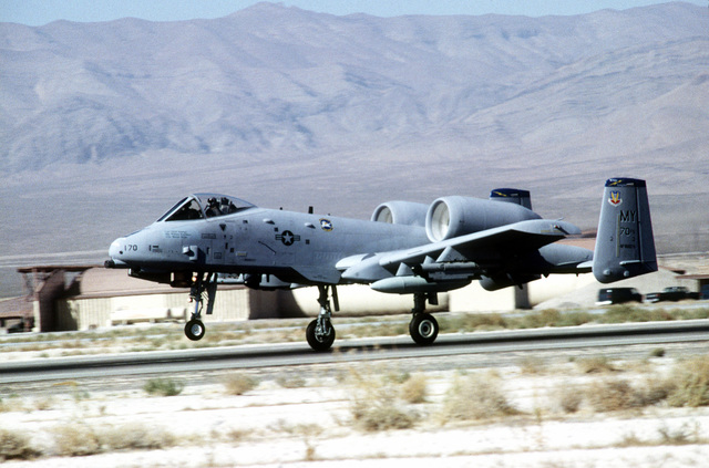 An OA-10A Thunderbolt II from 347th Wing, Moody Air Force Base, Georgia takes off from the Nevada base during GUNSMOKE 95. Exact Date Shot Unknown