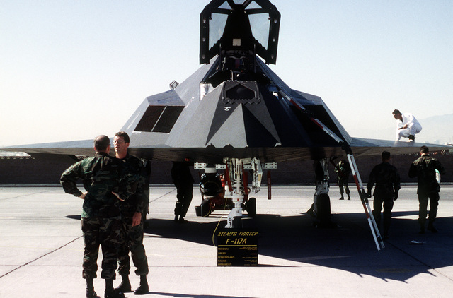 Maintenance crews work around the F-117A Nighthawk from the 49th Fighter Wing, Holloman Air Force Base, New Mexico, during GUNSMOKE '95. Exact Date Shot Unknown
