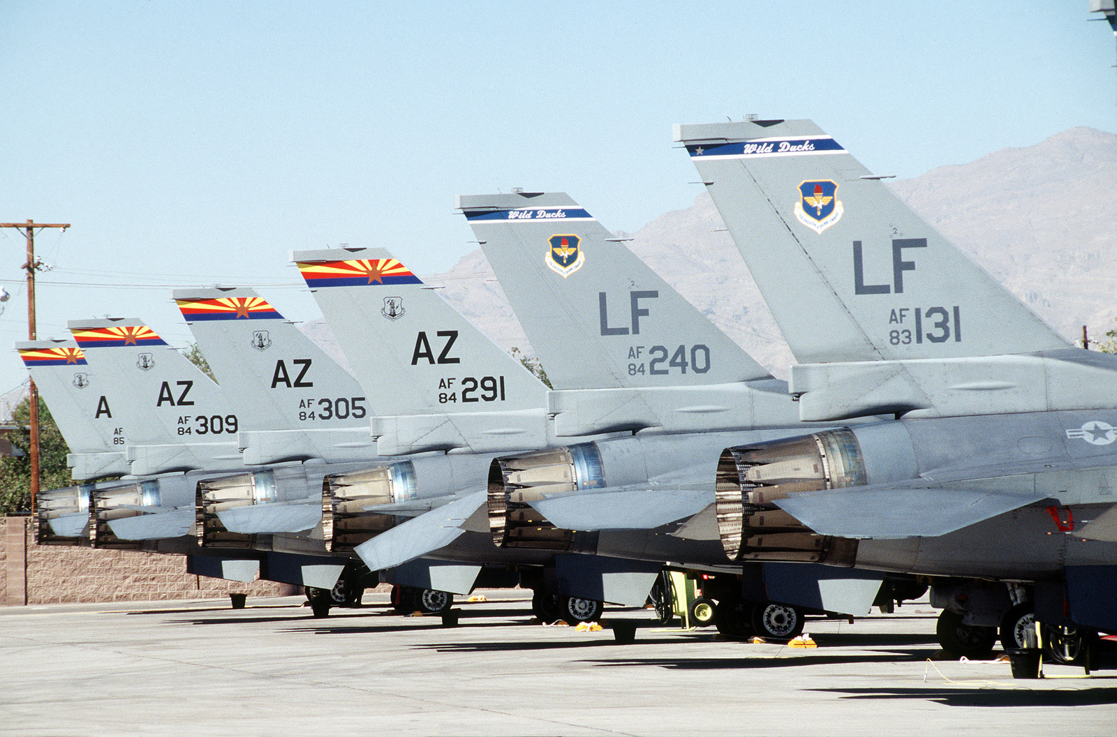 The tails of F-16 Falcon line up on the ramp during GUNSMOKE '95. The LT tails belong to 56th Fighter Wing, Luke Air Force Base, Arizona and the AZ tails belong to the 162nd Fighter Group (Air National Guard), Tucson, Arizona. Exact Date Shot Unknown