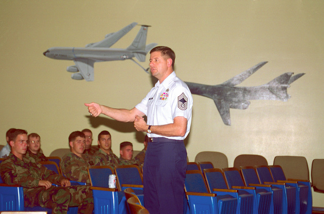 CMSAF David J. Campanale addresses members of the 9th Bomb Squadron during his visit to Dyess Air Force Base, Texas