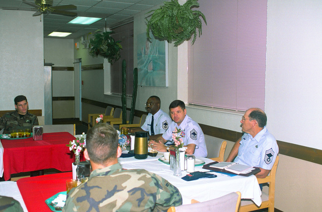 CMSAF David J. Campanale answers questions posed by airmen at a first termers breakfast during CHIEF Campanale's visit to Dyess Air Force Base, Texas