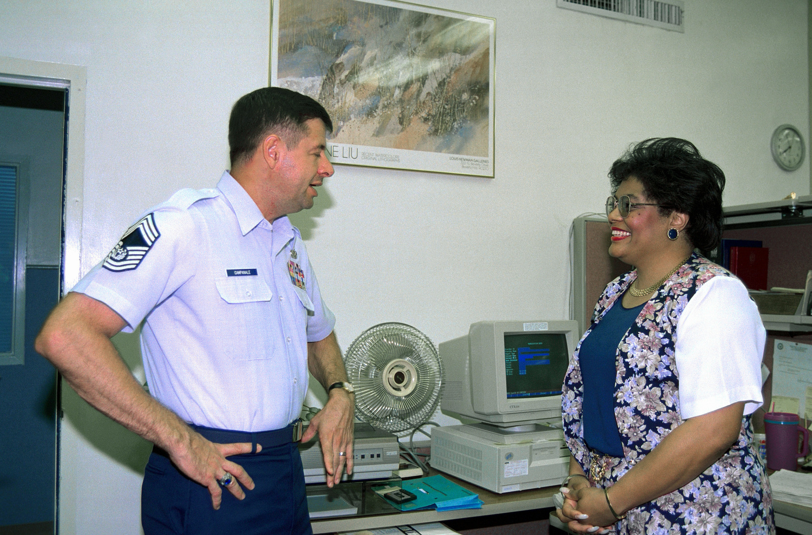 CMSAF David J. Campanale meets the daughter of former CMSAF Thomas Barnes, Hazel Lamb, who is a civilian employee at Dyess AFB hospital