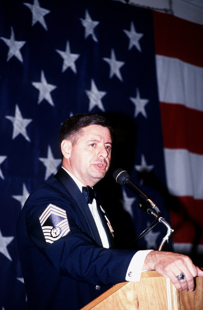 CMSAF David J. Campanale, the guest speaker at the Dyess AFB, Texas Enlisted Dining-Out, reflects on his views about being in the Air Force